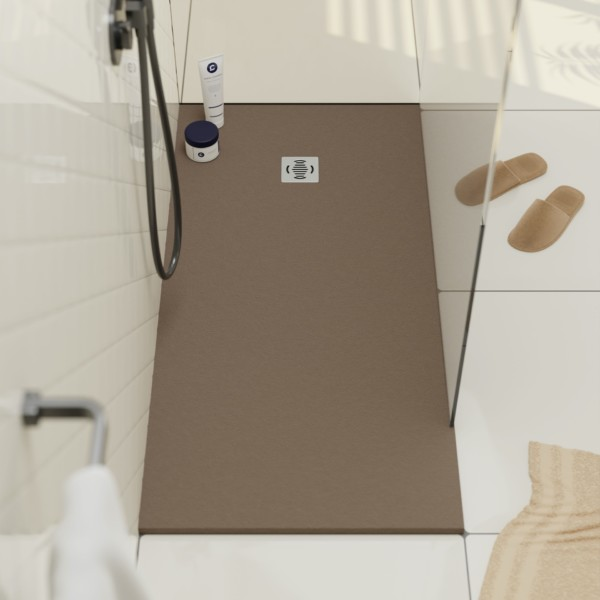 Detail of Ebro Stone resin shower tray extraflat and non slip in moka installed in a bathroom